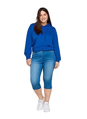 Zizzi Damen Capri Jeans 3/4 Caprihose Slim Fit Mit Stretch , Farbe: Blau, Gr. 42