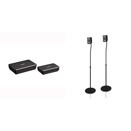 Audiosender für Lautsprecher - Marmitek Surround Anywhere 221 & Hama Lautsprecherständer 2er-Set (Boxenständer höhenverstellbar bis max. 123 cm, rutschfest, je 5 kg belastbar) schwarz