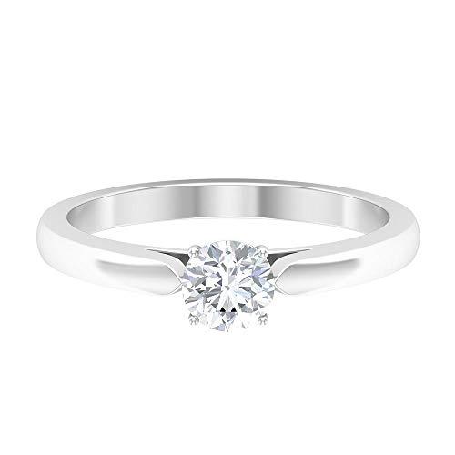 Anillo de 5 mm de moissanite solitario, anillo de ajuste de corona, anillo de promesa simple de oro para mujer, anillos de compromiso de oro para mujeres, 14K Oro blanco, Moissanita, Size:EU 46