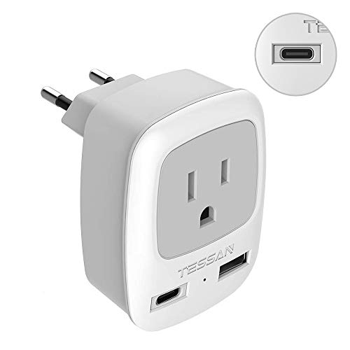 European Power Plug Adapter, TESSAN International Type C Travel Plug with 1 USB-C Port and 1 USB-A Port, Outlet Adaptor for US to Most of Europe EU Italy Spain Iceland France Germany