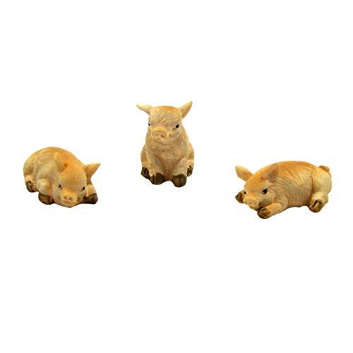 TG LLC Treasure Gurus 3 Pc Mini Pigs Piglet Figurine Set Outdoor Dollhouse Accessory Fairy Garden Decor
