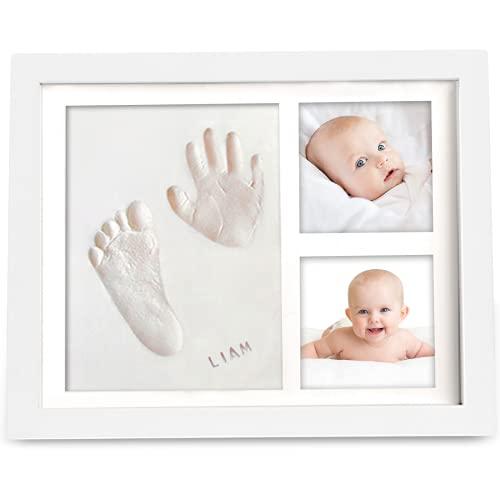 """Kit Souvenir Empreinte et Empreinte Bébé - Impressions pour enfants - Cadre photo nouveau-né -Kit d'art de mémoire - Cadres photo de douche de bébé, registre de bébé (11"""" x 8.8"""", Alpine White)"""