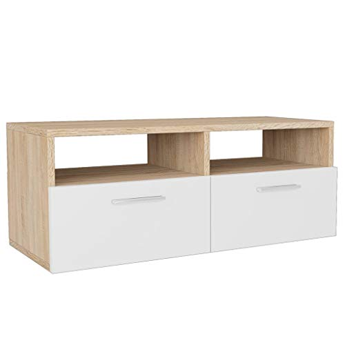 vidaXL Mueble TV 95x35x36 cm Blanco Color Roble Mobiliario Estación Multimedia