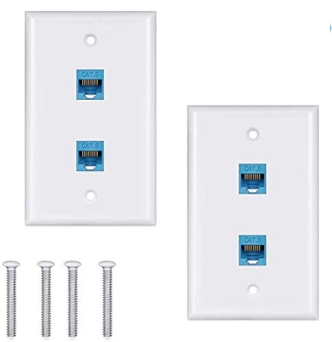 Ethernet Wall Plate Cat6 2Pack,Cat 6 Wall Plate Female-Female Compatible with Cat7/6/6e/5/5e Ethernet Devices -Blue