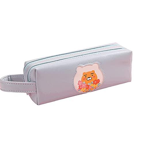 Funda de lápiz PU Caja de lápices de Gran Capacidad, Bolso de Almacenamiento de papelería Multifuncional de 2 Capas Bolsa de lápiz de Bolsa de cosméticos con Cremallera -Pink/Bolso de Bolsa de Pluma