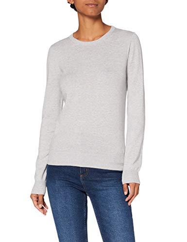 Amazon-Marke: MERAKI Baumwoll-Pullover Damen mit Rundhals, Grau (Light Grey), 38, Label: M