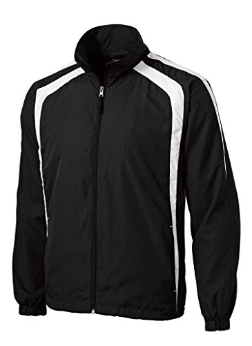 Joe's USA Mens Lightweight Full-Zip Wind Jacket-Black/White-XL