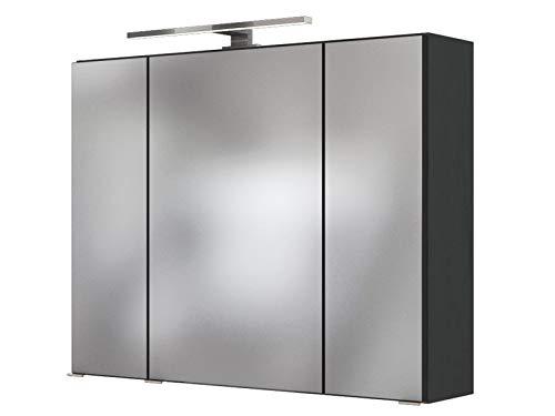 3D-Spiegelschrank Badschrank Hängeschrank Spiegel Wandschrank Badmöbel Baabe I Graphit 80 cm