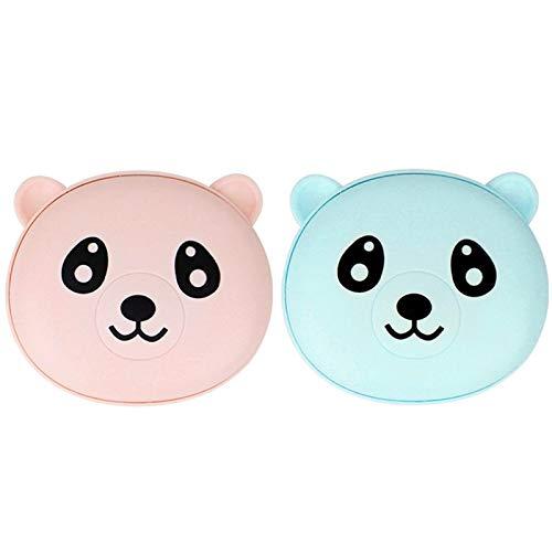 siqiwl Calentador de manos portátil USB para invierno, 2 unidades, calentador de manos con diseño de oso de dibujos animados, recargable, doble cara, calentamiento rápido, azul y rosa
