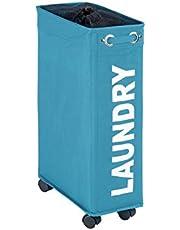 WENKO Laundry bin Corno Petrol - laundry basket Capacity: 43 l, Polyester, 18.5 x 60 x 40 cm, Petrol
