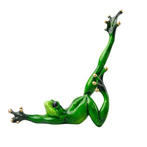 LKXHarleya Ornement en CéRamique De Salon De Chambre à Coucher De Grenouille De RéSine De Yoga Assez Vert
