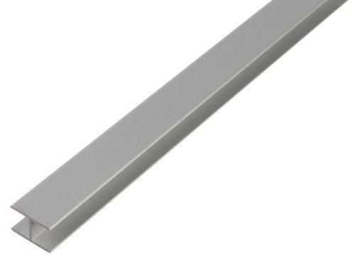 GAH-Alberts 030180 H-Profil - selbstklemmend, Aluminium, silberfarbig eloxiert, 1000 x 10,9 x 20 mm