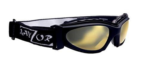 Rayzor Profesional UV400 Negro 2 En 1 de EsquÍ / snowboard gafas de sol / gafas, con un claro antideslumbrante Claridad del objetivo contra niebla recubierto amarillo y un desmontable con elástico diadema.