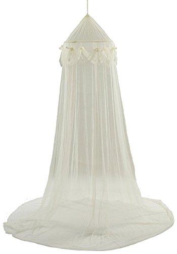 蚊帳 天蓋カーテン シングル (約)直径50×高230cm アイボリー