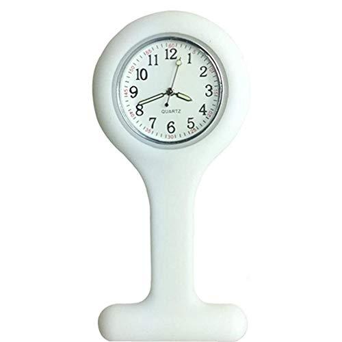 Reloj de la Enfermera de la Broche de Silicona Cadena Control de Infecciones Diseño Cuidado de la Salud para Enfermera Personal médico de la Broche de Medicina de la Cadena de Pulsera Blanca