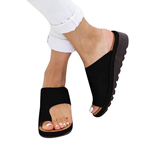 QY-Youth Zapatillas para Mujer Zapatos PU Cuero Plataforma Comfy Plata Plana Sole Ladies Soft Toe Toe Corrección Sandalia Ortopédica,35