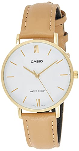 Casio LTP-VT01GL-7B Women's Minimalistic Gold Tone Brown Leather Band White Dial 3-Hand Analog Watch