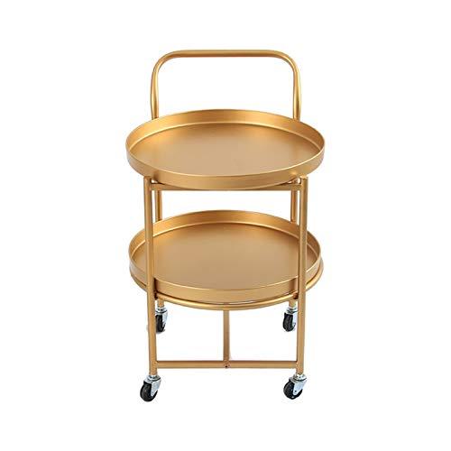 SHUJINGNCE Fashion Golden Table Basse à roulettes Lumière Luxe Cart Beauty Club Movable Table Salon Chambre à Coucher Chambre à Coucher Salle de Bonbons Plaque de Bonbons (Color : Golden)