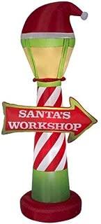 Gemmy Christmas Inflatable Santa's Workshop Sign, 7 Ft. Tall, LED Light-Up