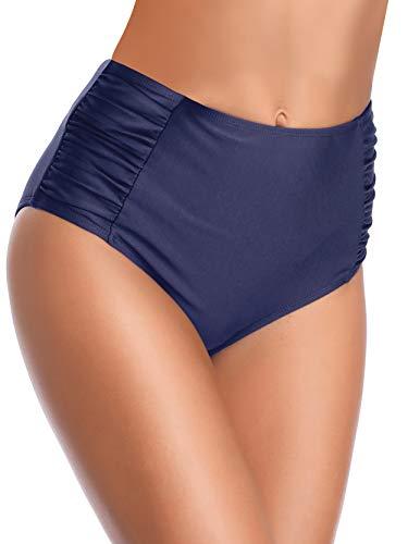 SHEKINI Slip Bikini Donna Costumi da Bagno Briefs Triangolo Fondo Bikini Tinta Unita Nuoto Tronchi Retro A Vita Alta Pieghe Laterali Tankini Pantaloncini Bikini Donna Mare(Blu Scuro-b,XL)