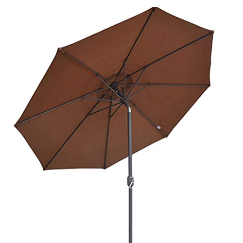 MMBBOD 270cm sombrillas terraza inclinable Parasol de Jardín, 2.7m Grande Sombrillas Patio con Manivela Protección Solar UV 50+, para Jardín Patio Playa Exterior (Color : Brown)