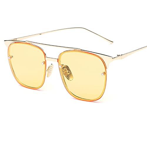 CHSDN Gafas de Sol Retro cuadradas, Lentes de Color, Gafas de Sol translúcidas, Suministros de sombrilla,A2