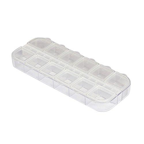 Aufbewahrungsbox für kleine Dinge, 12 Fächer, Kunststoff, für Nagelkunst, Schmuckschatulle, Strass, Ohrringe, Schmuckfach