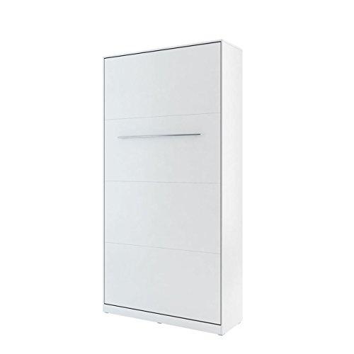 Mirjan24 Schrankbett Concept Pro I Vertical, Wandklappbett inkl. Lattenrost, Bettschrank, Wandbett, Schrank mit integriertem Klappbett, Funktionsbett, Farbauswahl, (90x200 cm, Weiß)