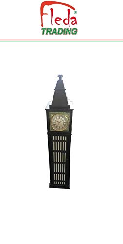 Fleda TRADING Vitrinekast in hout met klok, Big Ben Britse stijl afm. Cm. 26x26x120h