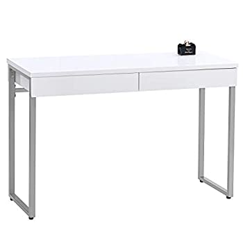 GreenForest Vanity Desk 47  Glossy White Console Table Computer Makeup Desk with 2 Drawers and Solid Metal Legs for Living Room Entryway Hallways