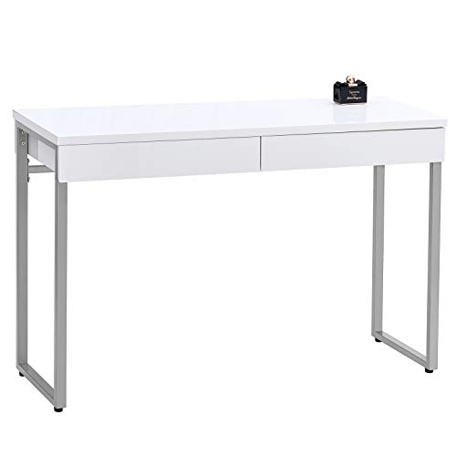 GreenForest Vanity Desk Glossy White Makeup Table 39.4inch with 2 Drawers Modern Computer Console Table with Metal Silver Legs for Living Room Entryway Hallways,Silver