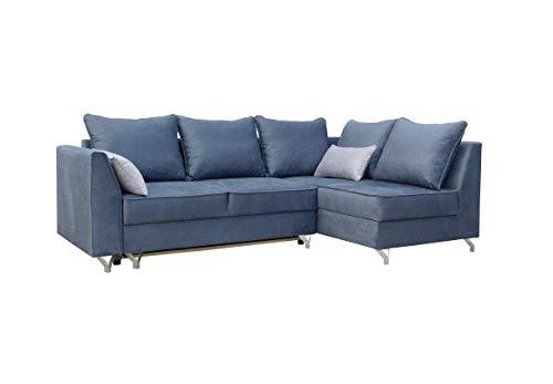 MOEBLO Ecksofa mit Schlaffunktion mit Bettkasten Sofa Couch L-Form Polstergarnitur Wohnlandschaft Polstersofa mit Ottomane Couchgranitur - ABRA (Blau, Ecksofa Rechts)
