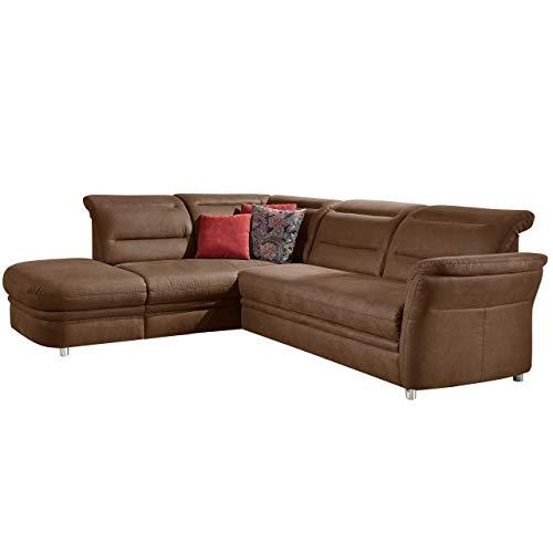 Cavadore Eck-Sofa Bontlei / Schlaf-Couch mit Kopfteilfunktion und Federkern / Inkl. Stauraum / 261 x 88 x 237 cm (BxHxT) / Mikrofaser braun