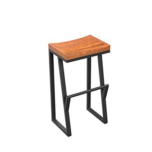 ZCX Vintage Bar Chair Iron Bar Silla Taburete de Bar de Madera Maciza Creative High Stool Leisure Bar Sillas Mostrador de recepción Coffee Chair Sillas de Comedor de jardín (Size : 75cm)