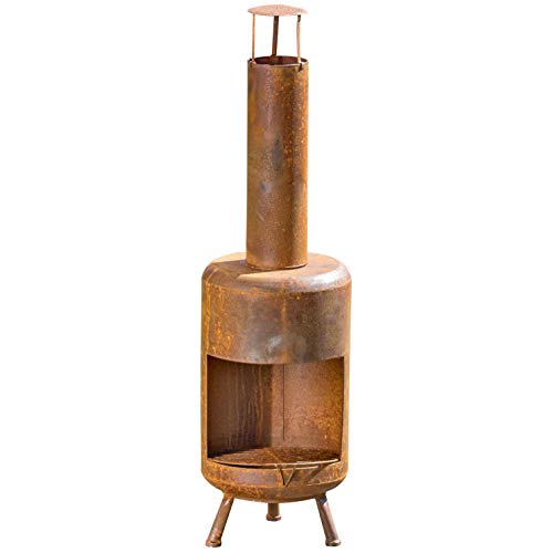 WHW Whole House Worlds Americana Garden Chiminea Fireplace, Rusty Heirloom Style Finish, Iron, 41 Inches Tall