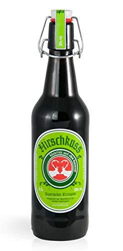 Hirschkuss 38{d3d5aeee978c0d21fb570c2c21f8b519672fb27ae7ecd6e251ba083d9ecead19} 0,5l Schnackelverschlussflasche, Kräuterlikör aus Oberbayern