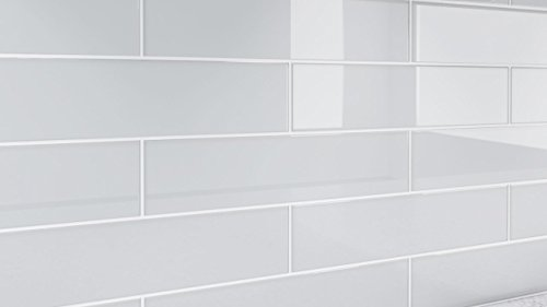 Off White Glass Tile, Ultra Light Gray Glass Tile for Showers and Kitchens by Bodesi Sample