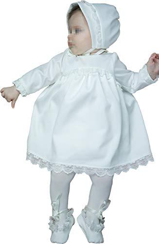 Six for Kids Doopjurk voor pasgeborenen, meisjes, 3-delig, jurk met muts en schoenen van 100% katoen, Claudia - wit - 62 / 3 mesi