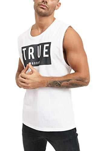 trueprodigy Casual Hombre Marca Camiseta De Tirantes con impresión de Logotipo Ropa Retro Vintage Rock Vestir Moda Cuello Redondo Sin Manga Slim Fit Designer Tank Top, Colores:White, Tamaño:XXL