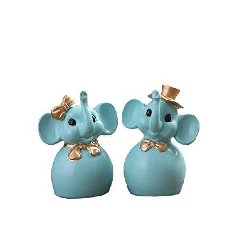 BXU-BG Dekorationen Art Craft Elephant Wohnzimmer Hand gezeichnet Paar Harz kreative Geschenkdekoration TV-Schrank
