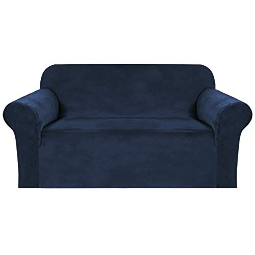 BellaHills Stretch Velvet Sofa Covers for 2 Cushion Couch Covers Sofa Slipcovers with Non Slip Straps Underneath The Furniture, Crafted from Thick Comfy Rich Velour (2 Seater, Navy)