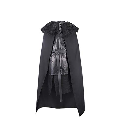 Jon Snow Costume Game of Thrones Cosplay Night's Watch Cloak Vest Outfit Uniform (Large)