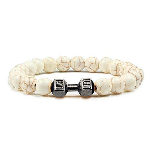 Men Beaded Bracelet Natural Black Lava Stone Dumbbell Charm Bracelets Energy Fitness Barbell Fashion Women Jewelry-Gun Black-yellowline_1