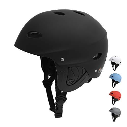 Vihir BMX Helm Wakeboard Helm Skaterhelm Fahrradhelm Herren Damen Jungs & Kinderhelm Wassersport Helm mit Ohrenschützer ABS+Eva, Schwarz/M