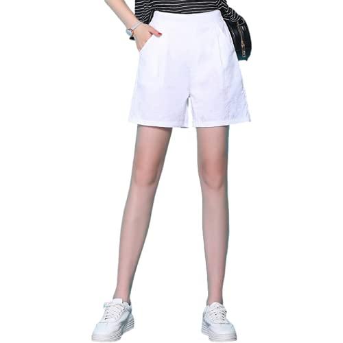 Pantalones Cortos para Mujer Verano Moda Casual Cintura elástica Pantalones Anchos Desplazamientos Diarios al Trabajo Pantalones Cortos Informales L