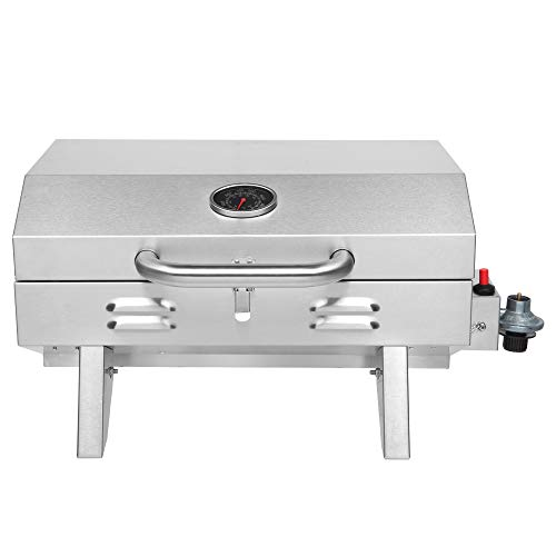 ROVSUN Portable Propane Gas Grill 12,000BTU, Tabletop Outdoor Cooking Grill for Picnic Camping Tailgating Patio Garden BBQ, Stainless Steel