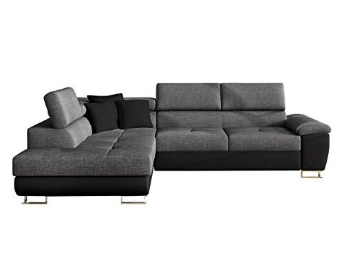 Mirjan24 Ecksofa Eckcouch Cotere, Sofa Couch mit Schlaffunktion und Bettkasten L-Sofa Farbauswahl Wohnlandschaft vom Hersteller (Soft 011 + Lux 06 + Soft 011, Seite: Links)