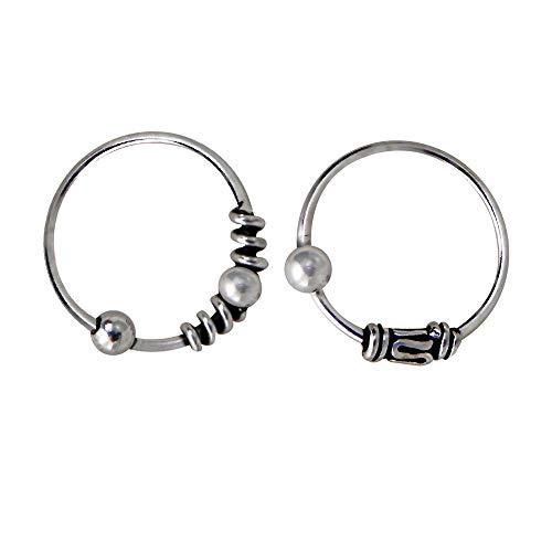 2 fine nose rings in Bali style, sterling silver, with ball closure 9 mm inner diameter, 0.6 mm thickness, 2 different Bali designs.