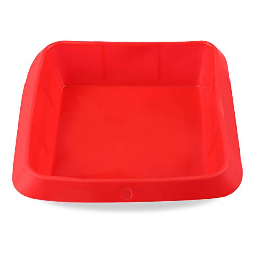 Belmalia Auflauf-Form Silikon, 100% BPA frei, Lasagne-Form, Kuchen-Backform, Kasten-Form, Antihaftbeschichtet, 20 x 20 cm Rot