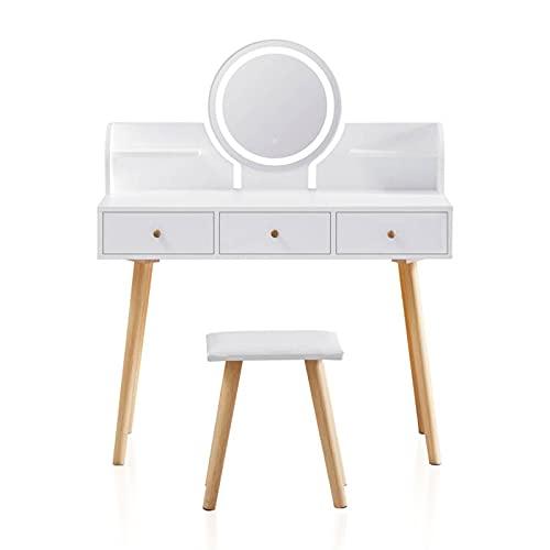 TUKAILAI Tocador blanco con luces LED ajustables de brillo táctil, taburete, 3 cajones y estantes de almacenamiento, juego de mesa de tocador de maquillaje, tocador de dormitorio